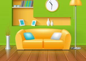 Modern interior in green yellow color range design with sofa vase and clock realistic vector illustration